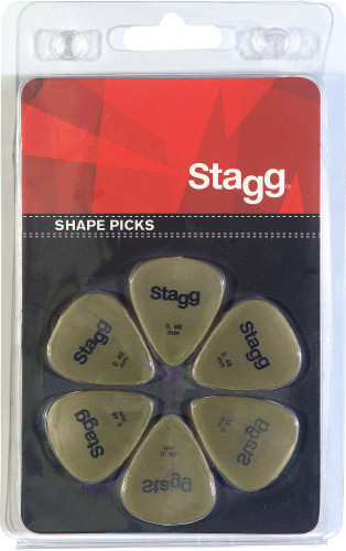 Pack of 6 Stagg 0.46 mm standard plastic picks