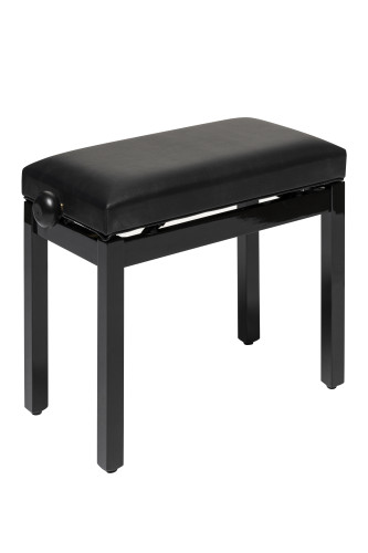 Highgloss black piano bench with black vinyl top