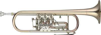 Bb Rotary Trumpet, Gold brass body, w/trigger