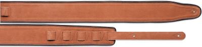 Sangle rembourrée noire et orange en cuir et daim pour guitare (extérieur beige)