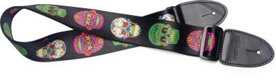 Sangle en térylène pour guitare, motif crâne mexicain 3