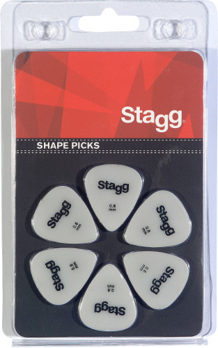 Set van 6 Stagg 0,6 mm plastic plectrums, standaardmodel