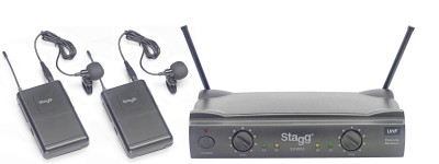 UHF true diversity 2-channel lapel microphone wireless system