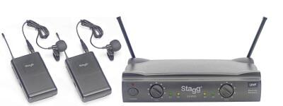 Système de micros-cravates sans fil UHF true diversity 2 canaux