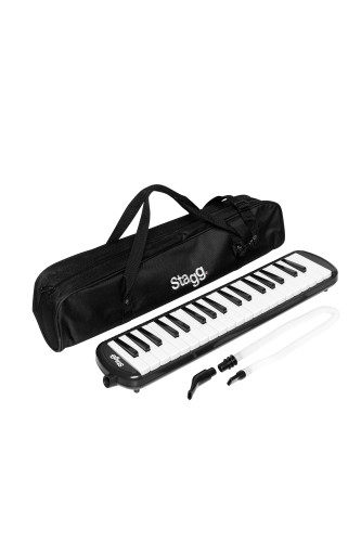 Black plastic melodica with 37 keys and black bag