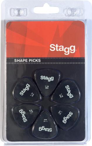 Set van 6 Stagg 1,14 mm plastic plectrums, standaardmodel