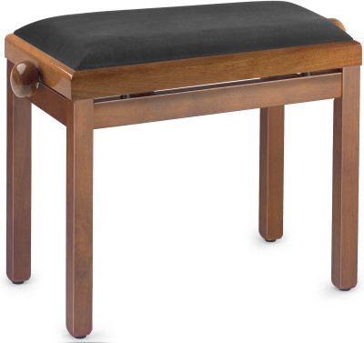 Highgloss piano bench, wild cherry colour, with black velvet top