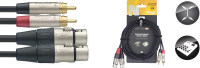 Twin cable, RCA/XLR (m/f), 3 m (10'), N-series