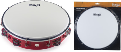 "12"" Tuneable plastic tambourine with 2 rows of jingles"