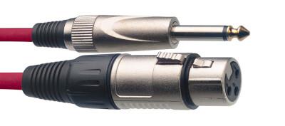 Câble de microphone XLR/jack (f/m), 3 m, rouge