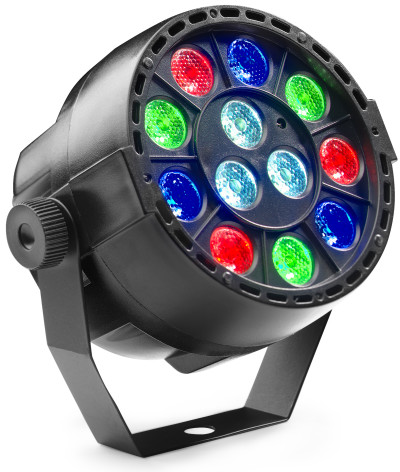Battery-powered ECOPAR XS spotlight with 12 x 1-watt R/G/B/W LED