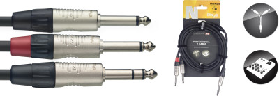 N series Y-cable, jack/jack (m/m), stereo/mono, 3 m (10')