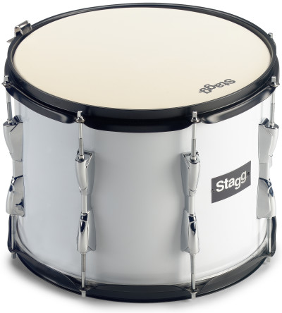"""14 x 12"""" marching tenor drum, white, with strap"""