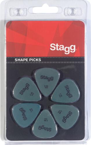 Set van 6 Stagg 0,88 mm plastic plectrums, standaardmodel