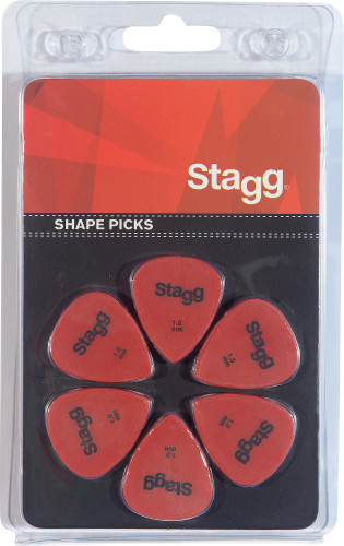 Set van 6 Stagg 1 mm plastic plectrums, standaardmodel