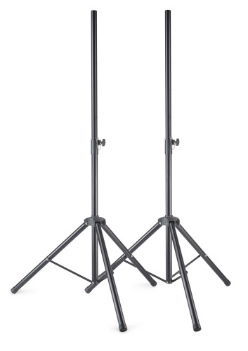 Metal speaker stand pair with folding legs