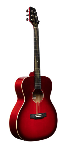 Auditorium guitar with basswood top, transparent red