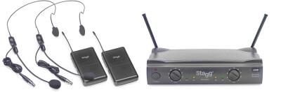 UHF true diversity 2-channel headset wireless system
