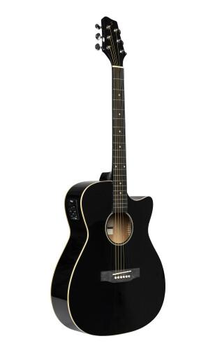 Cutaway, akustisch-elektrische Auditorium Gitarre, Schwarz