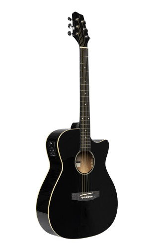 Elektro-akoestische gitaar, auditorium-model met cutaway, zwart