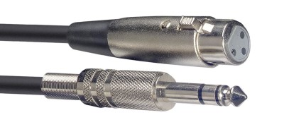Audio cable, XLR/jack (f/m), 6 m (20')