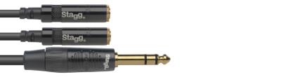 N series adapter Y cable, jack/mini jack (m/f), stereo, 10 cm (0.3')