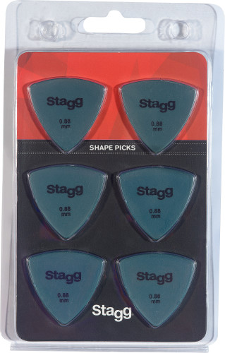 Set van 6 driehoekige Stagg-plectrums, plastic, 0,88 mm