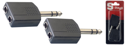 "Audio-adapter, 2 x 1/4"" jack (v) naar 1 x 1/4"" jack (m)"