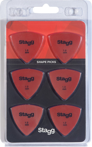 Pack of 6 Stagg 1 mm triangular plastic picks