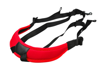 Junior fully-adjustable saxophone harness with soft shoulder padding, red
