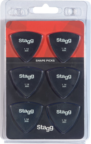 Set van 6 driehoekige Stagg-plectrums, plastic, 1,14 mm