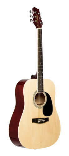 Natural dreadnought acoustic guitar with basswood top
