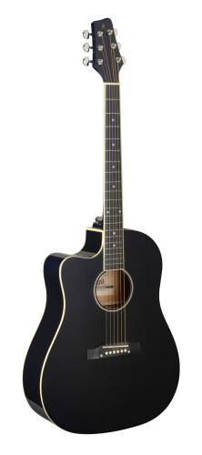 Cutaway acoustic-electric Slope Shoulder dreadnought guitar, black, left-handed model