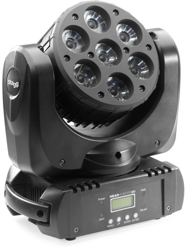 HeadHunter 20, projecteur Lyre, 7x 10W (RVBB, 4 en 1) LEDs