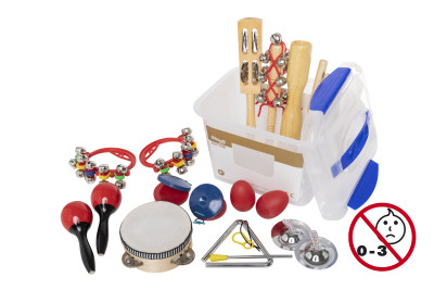 Children's percussion kit in transparent plastic box with sealable lid