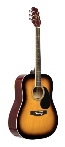 Sunburst dreadnought acoustic guitar with basswood top
