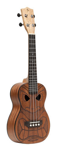 Tiki series concert ukulele with sapele top, Mena finish, with black nylon gigbag