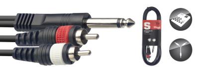 Y-cable, jack/RCA (m/m), 1.5 m (5'), moulded plastic