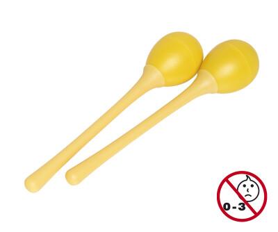 Pair of long handled plastic egg maracas