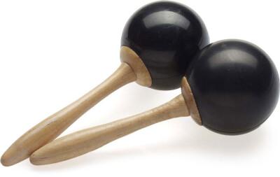 Pair of traditional fibre maracas, black