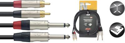 Twinkabel, jack/RCA (m/m), 1,5 m, zwart, Deluxe-uitvoering