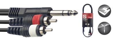 Y-cable, jack/RCA (m/m), 1 m (3')