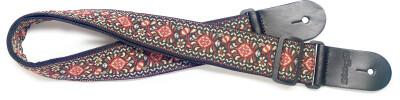 Woven nylon guitar strap with brown Jimi pattern