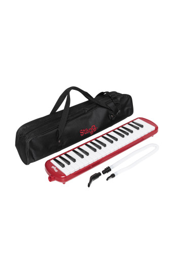 Red plastic melodica with 37 keys and black bag
