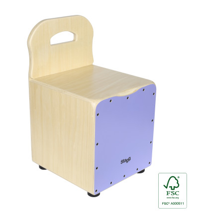 Basswood kid's cajón with EasyGo backrest, purple front board