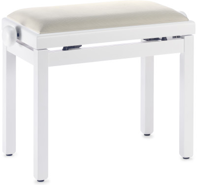Matt white piano bench with beige velvet top