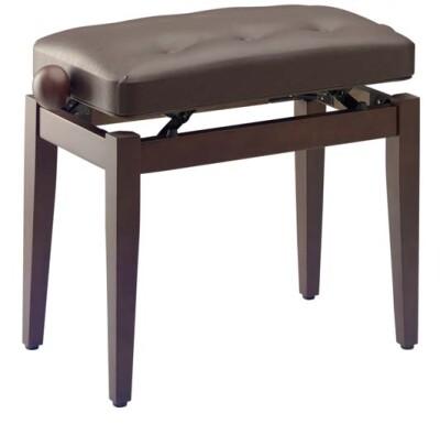 """Chesterfield"" piano bench, walnut colour, matt, brown vinyl top"