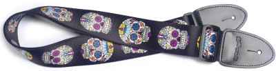Terylene guitar strap with Mexican skull pattern