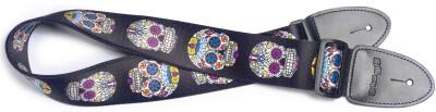 Sangle en térylène pour guitare, motif crâne mexicain