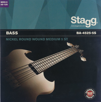 Nickel round wound set of strings for 5-string electric Bass guitar